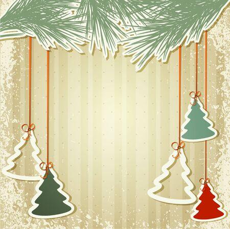 christmas backgrounds: New Years holiday background with hanging herringbone Illustration