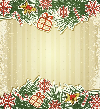 New retro background with tree branches and eating Christmas toys Vector