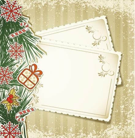 New Year's felicitatie achtergrond met vintage kaarten