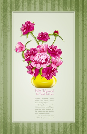 vector holiday greetings with peonies and yellow vase Stock Vector - 10761307