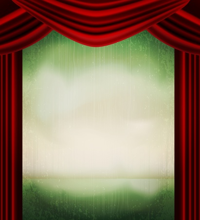 classical theater: vector vintage grunge background with red curtains