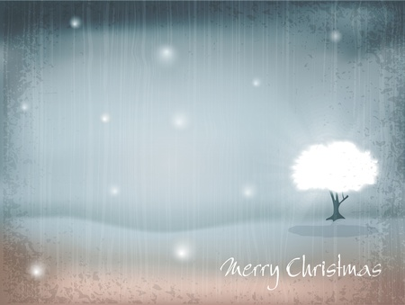 vector holiday, New Years, retro background with tree and falling snow Vector