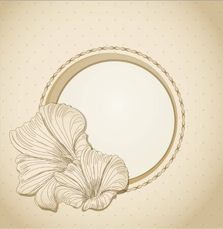 round the festive frame with flowers Vector