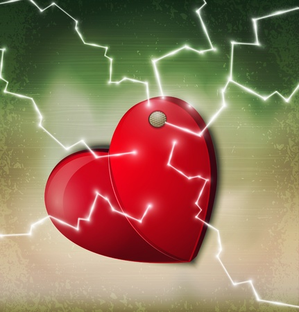 heart break: vector heart hanging on a nail with a zipper on a vintage background