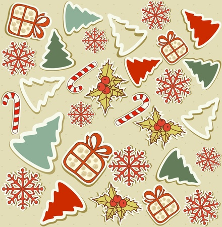vector seamless with Christmas items Stock Vector - 10802692