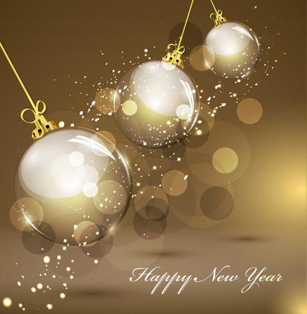 New Year's gold background with gold balls Stock Vector - 10864037