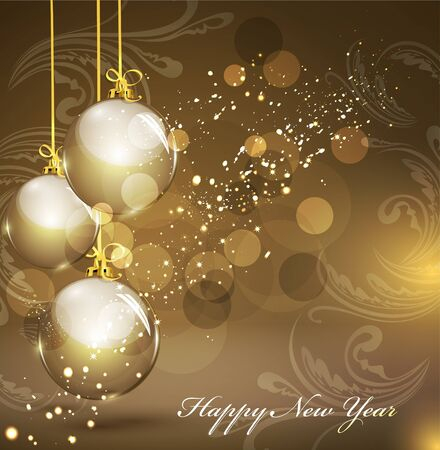 New Years gold background with gold balls Vector