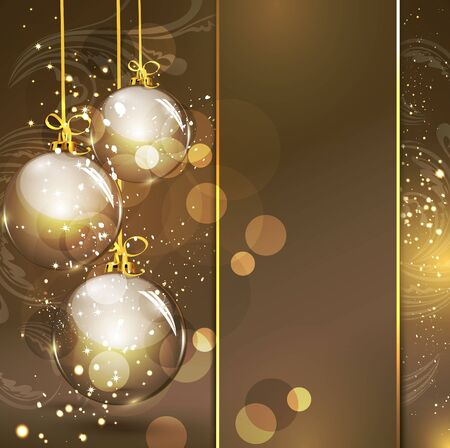 year curve: Holiday gold background with golden glass balls