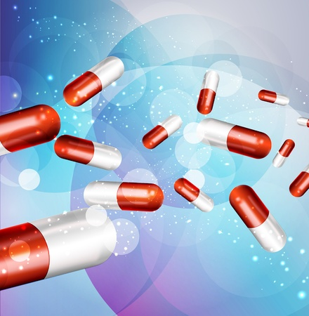 vitamins pills: Background with capsules (health issue)