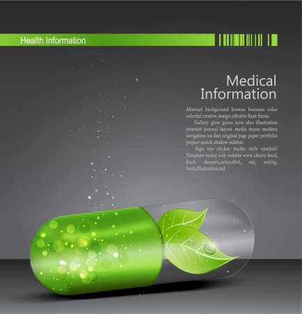 Flyer for medical theme with a green pill and leaf Vector