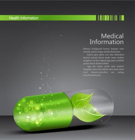 medicina: Flyer para el tema m�dico con una pastilla verde y la hoja de