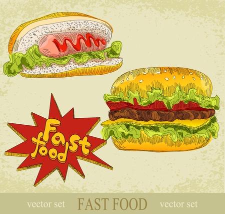 Conjunto de la vendimia de comida rápida Ilustración de vector