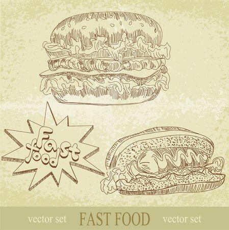 gourmet burger: Vintage set of fast food