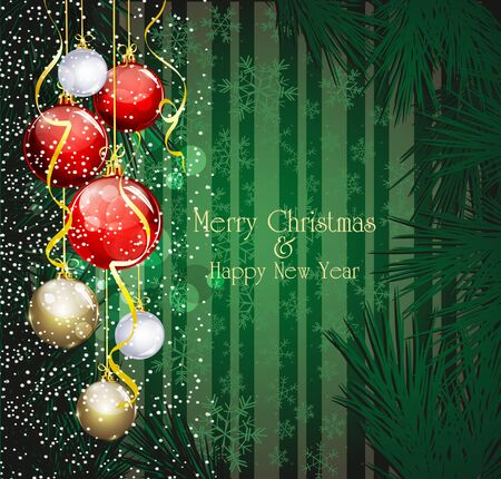Blue Christmas festive background with balls and  christmas tree Vector