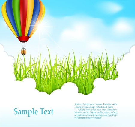 balloon background: Background with green grass and flying hot air balloon