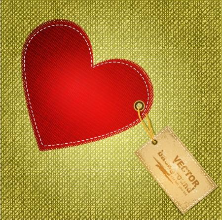 rivet: красные сердца с текстильной этикетки