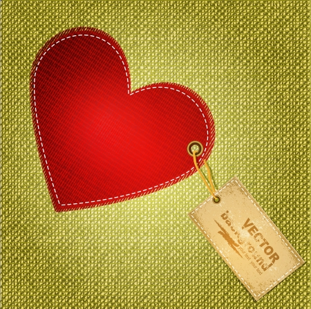 red heart textile with label Vector
