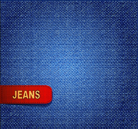 background with red denim label Vector