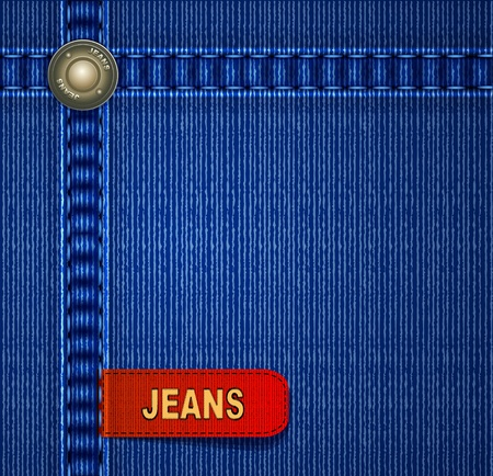 background with red denim label stitching and rivets Vector