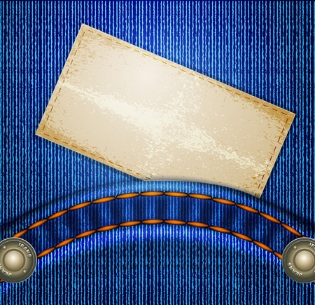 leather stitch: jeans background with quilted pockets and card-label Illustration