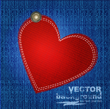 sewn: vectors jeans background with rivet and red heart Illustration