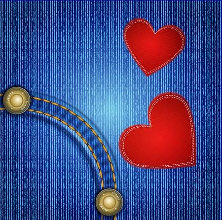 rivet: джинсы фон с заклепками и два красных сердца