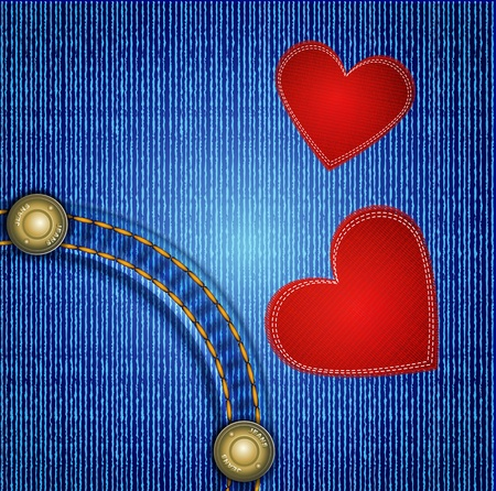 sewn: jeans background with rivet and two red heart