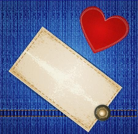 rivet: джинсы фон с заклепками, сердце красное и картонные этикетки Иллюстрация