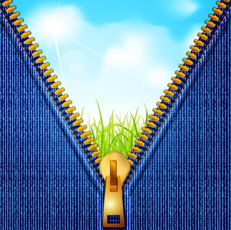 sew tags: jeans background with a zipper and a landscape in which the blue sky and grass Illustration