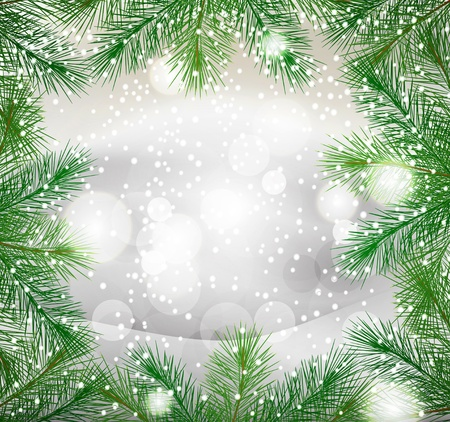 christmas sphere: new year background with green fir branches and snow