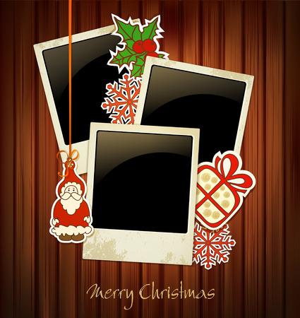 christmas photo frame: christmas holiday background Illustration