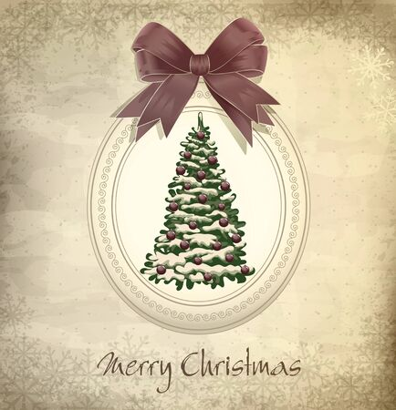 xmas decoration: vector holiday, vintage, grungy Christmas background with Christmas tree and a bow