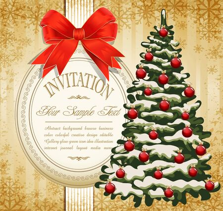 vector festive invitation to the Christmas tree and red bow Vector Illustration