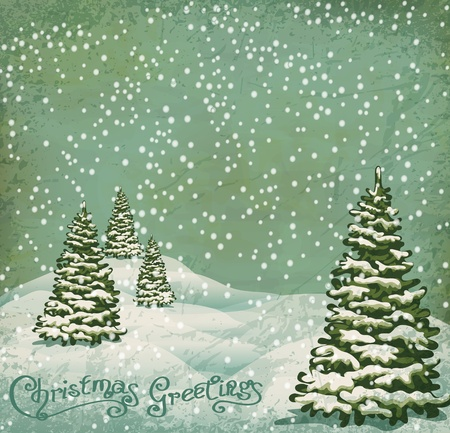 postcard vintage: vector vintage postcard with Christmas trees, snow