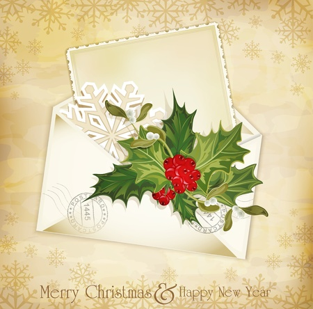 mistletoe: vector vintage christmas background with sprig of European holly and envelope
