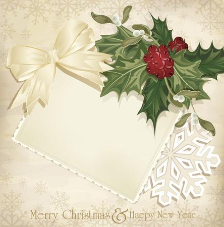 muerdago: vector navidad fondo de �poca con una ramita de acebo Europea y la cinta