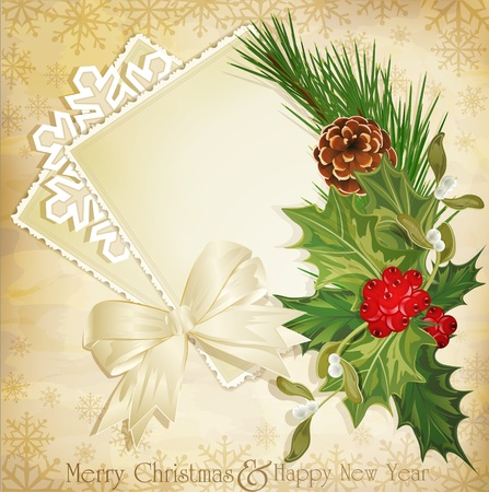 mistletoe: vector vintage christmas background with sprig of European holly and ribbon