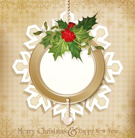 muerdago: vector vintage retro Navidad de fondo con una ramita de acebo Europea