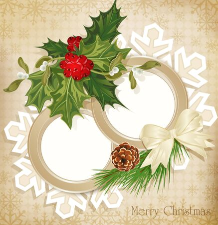 range fruit: vector vintage retro christmas background with sprig of European holly and tree with cones