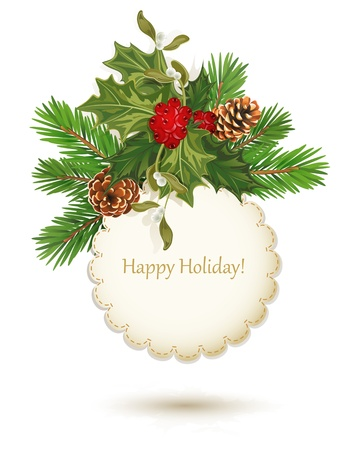 evergreen: vector festive background, holly, pine cones and the frame on the white background Illustration