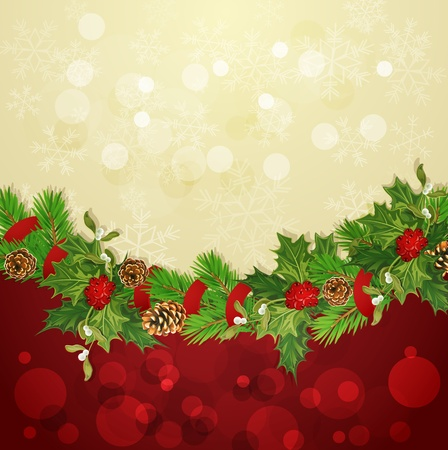 vector holiday background with Christmas garland, hally and balls