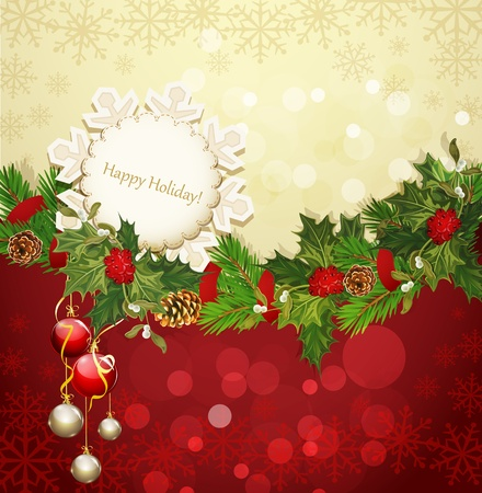 christmas wreath: vector festive background with Christmas garland and balls