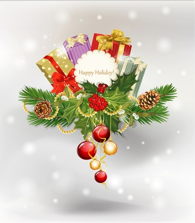 vector festive background, tree, pine cones,holly and the frame on the white background