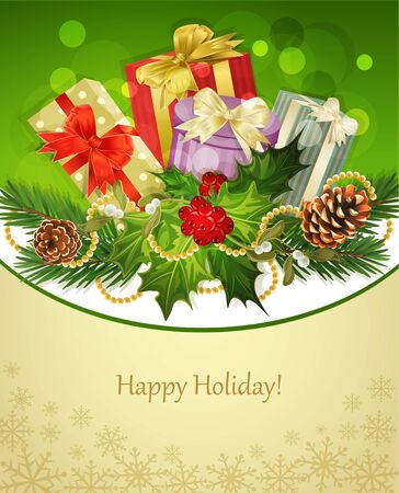 vector holiday background, tree, pine cones,gifts, holly and the frame Vector