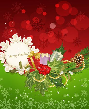 vector holiday background, tree, pine cones,gifts, holly and the frame Stock Vector - 11282719