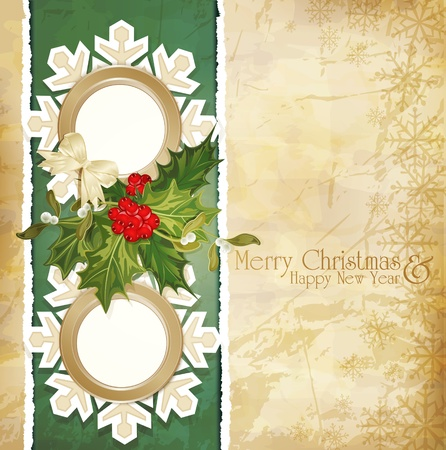 mistletoe: vector vintage retro christmas background with sprig of European holly, torn paper and two frames