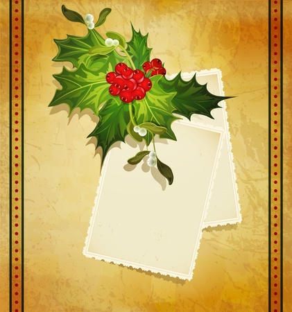 Christmas greeting with holly and two greeting card Vector