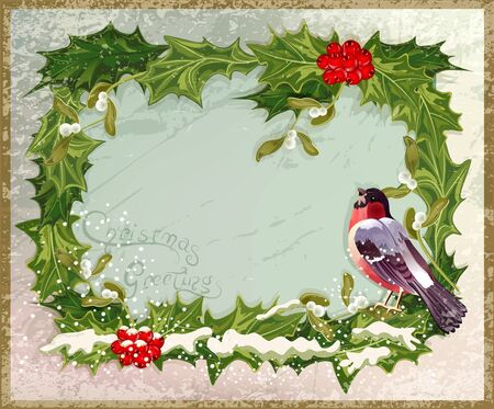 vector old vintage postcard with holly and bullfinch Vector