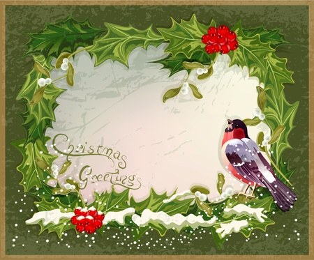 vector old vintage postcard with holly and bullfinch Stock Vector - 11471776