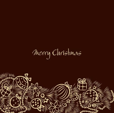 Christmas vector background with a golden garland handmade Vector